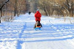 走在sledging在冬天公园在第聂伯罗彼得罗夫斯克(Dnipro,德聂伯级市, Dnieper) 免版税库存照片
