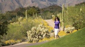 走在Sonoran沙漠的妇女 免版税库存图片