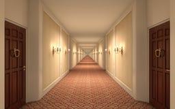 走廊不尽的旅馆 库存照片