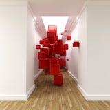 走廊求红色的立方 库存照片