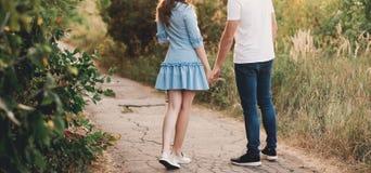 走开在领域,握手的夫妇看法的后面看法夫妇  免版税库存照片