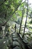 走日本的寺庙山道路的人 库存照片