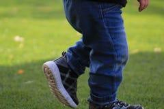 走横跨草的小孩 免版税图库摄影
