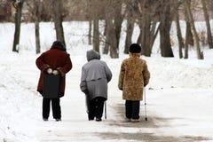 走沿大道的三名年长妇女在冬天 库存图片