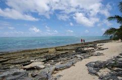 走沿海滩奥秘海岛在瓦努阿图 库存图片