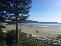 走沿海滩的两个人在Tofino,不列颠哥伦比亚省,加拿大 免版税图库摄影