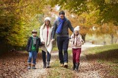 走沿秋天道路的家庭 免版税图库摄影