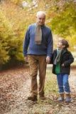 走沿秋天道路的祖父和孙子 免版税库存图片