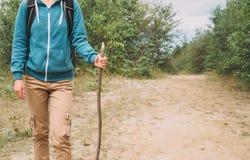走用一根木棍子的远足者妇女在森林里 图库摄影