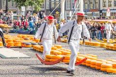 走用许多乳酪的载体在著名荷兰干酪市场上在阿尔克马尔 库存图片