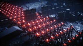 走的军用机器人 军用机器人入侵  剧烈的启示超级现实概念 远期 3d翻译 向量例证