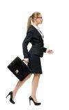 走的女实业家档案有案件的 免版税库存照片