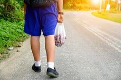 走的学生回家,递果子和食物的运载的袋子 免版税图库摄影