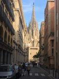 走的故事:巴塞罗那大教堂 库存图片