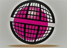 走的桃红色球,在笼子的桃红色阳光,象桃红色火,黑匣子圆的设计 令人敬畏3d作用桃红色和黑 向量例证