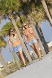 走的海滩 库存照片