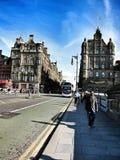 走的街道在格拉斯哥市,苏格兰 免版税库存照片
