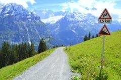 走的远足的迁徙的倾斜的人行道,在阿尔卑斯,格林德瓦,瑞士 库存图片