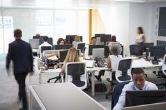 走通过一个繁忙的开放学制办事处的人 库存图片