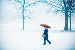 走通过与伞, Parco二蒙扎,意大利的雪的妇女 免版税库存图片