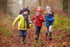 走通过冬天森林地的家庭 免版税库存照片