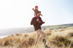 走通过在冬天海滩的沙丘的父亲和女儿 免版税图库摄影