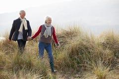 走通过在冬天海滩的沙丘的资深夫妇 免版税库存图片