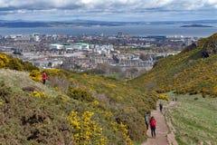 走通过小山象草的倾斜的游人到Arthur's位子,高峰在爱丁堡Holyrood公园, Scotla位于 免版税图库摄影