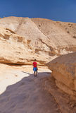 走通过峡谷的妇女在沙漠 免版税库存照片