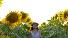 走通过开花的向日葵的领域的微笑的女孩少年佩带的玻璃和草帽 股票视频