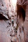 走通过斑马槽孔峡谷的人远足者 图库摄影