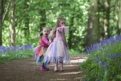 走通过木头的两个孩子用春天会开蓝色钟形花的草填装了 库存图片