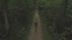 走通过森林,在树之间的缓慢的下降和向后跟踪射击的一个少妇的天线 影视素材