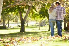 走通过秋天森林地的浪漫夫妇背面图  图库摄影