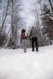 走通过雪的一对成熟夫妇的背面图 免版税库存照片