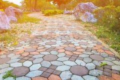 走道块石头在公园和拷贝空间的颜色水泥增加与浅景深的文本精选的焦点 库存照片