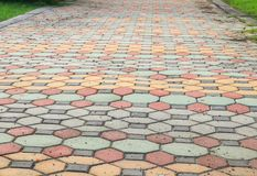 走道块石头在公园和拷贝空间的颜色水泥 免版税图库摄影