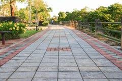 走道块石头在公园和拷贝空间的颜色水泥 免版税库存图片