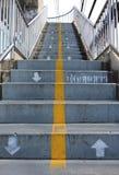 走道标志和文本在泰国在天桥 免版税库存照片