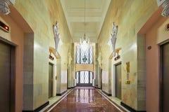 走廊在旅馆希尔顿莫斯科Leningradskaya里 免版税库存图片