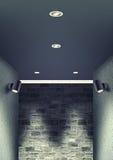 走廊照明设备夜场面 库存图片
