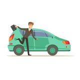 赶紧跑到他的汽车的人字符,商人是晚传染媒介例证 免版税库存图片