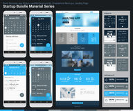 起始的捆绑材料系列 流动App UI和着陆页 免版税库存照片