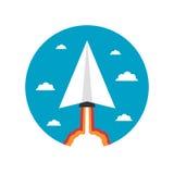 起始的纸平面火箭 免版税库存照片