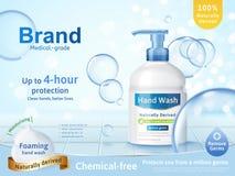 起泡沫的手洗涤广告 向量例证