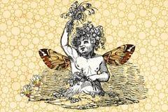 起泡神仙的天使葡萄酒女孩 免版税图库摄影