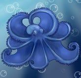 起泡章鱼在水面下 免版税图库摄影