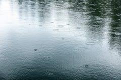 起波纹湖表面上的雨下落 库存照片