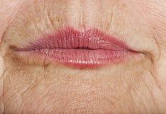 起皱纹的嘴唇老皮肤 库存照片