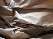 起皱纹的棕色包装纸纹理 库存照片